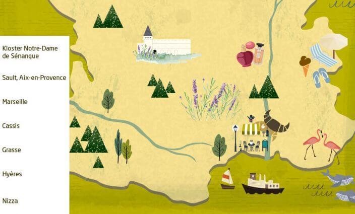 ERV Blog Karte für mit dem Auto durch Südfrankreich