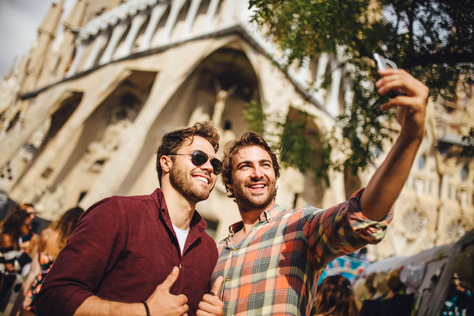 Selfies auf Reisen in der Öffentlichkeit